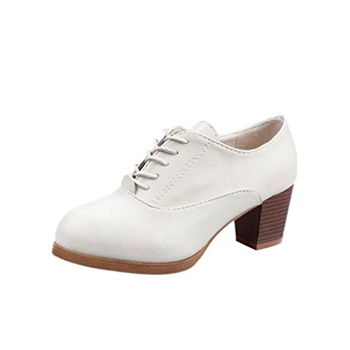 Elevin(TM) 2018Womens Spring Square Wood Heel Single Shoes Lace-up Round Toe Ankle Shoes Beige