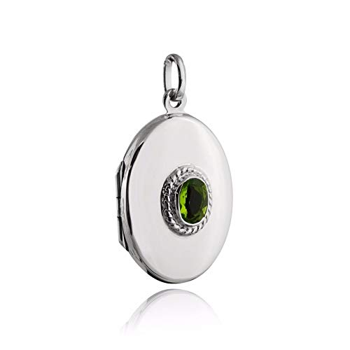 (Oval Locket with Peridot Stone - 925 Sterling Silver - August CZ Photo - Jewelry Accessories Key Chain Bracelets Crafting Bracelet Necklace Pendants)
