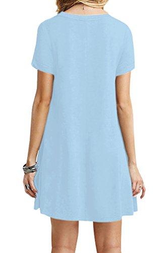 Midi Courtes Vrac Couleur Manches Femme XXXXL 34 Robe Shirt XS T Longue 24 Loose Chemise Bleu YMING Robe 52 Ciel en qtwPFXF