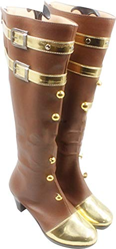 Mingchuan Whirl Cosplay Boots Shoes for League of Legends Caitlyn Brown -