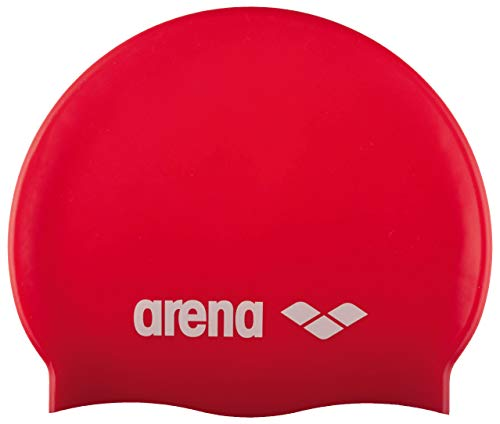 (Arena Classic Silicone JR Youth Swim Cap, Red/White)