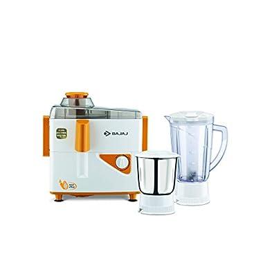 Bajaj Neo JX4 450-Watt Juicer Mixer Grinder with 2 Jars (White/Orange) 6
