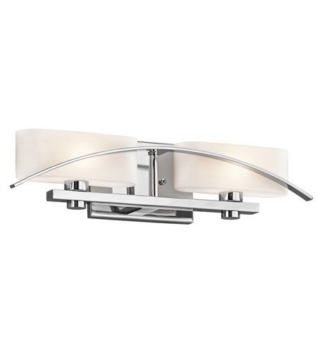 Kichler 45316CH Suspension 2-Light Vanity Fixture and Satin Etched Cased Opal Glass, Chrome Finish by Kichler