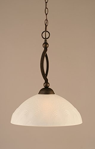 One Light Downlight Pendant with Turtle Glass in Bronze