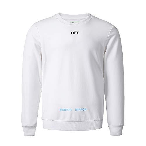 Classica Go Sciolto Stampa Uomo Easy Lunghe Maniche Da A Shopping White Pullover Con dSSxz8wq
