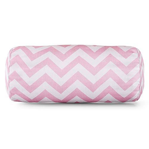 (Majestic Home Goods Baby Pink Chevron Indoor Round Bolster Pillow 18.5