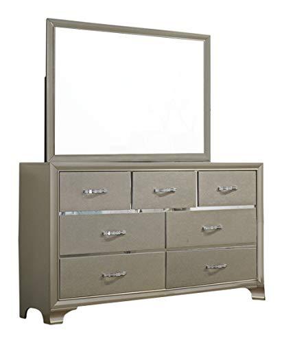 Bedroom Kings Brand Furniture – Champagne Upholstered Headboard Queen Size Bedroom Set. Bed, Dresser, Mirror & Night Stand modern bedroom furniture sets