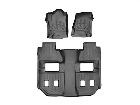 2015-2016 Chevrolet Suburban-Weathertech Floor Liners-Full Set (Includes 1st and 2nd Row)-Fits Vehicles with 2nd Row Bucket Seats-Black