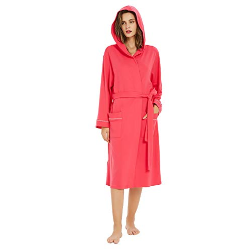 M&M Mymoon Womens Cotton Robe Soft Kimono Spa Knit Bathrobe Lightweight Long (Fuchsia Hooded, 2XL)