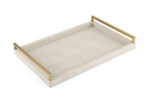 WV Faux Shagreen Decorative Tray PU Leather with Brushed Ti-Gold Stainless Steel Handle (Ivory) (Rectangular Gold Tray)