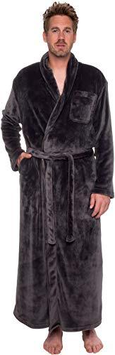 Ross Michaels Mens Long Robe - Full Length Big & Tall Bathrobe (Grey, XXL)