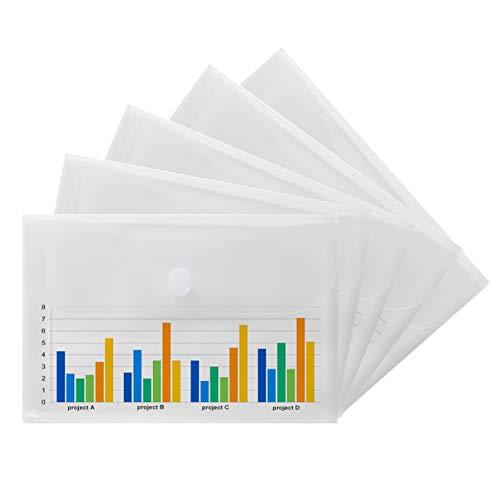 - YoeeJob 5 PCS Plastic Envelopes Legal Size 14 X 10 Transparent Document File Project Folders with Hook &Loop Closure, Side Opening