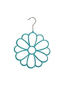Home Basics 2PK Velvet Floral Flower Scarf Hangers Turquoise