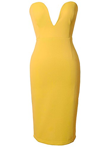 Femmes Profond Col V Vert Bustier Moulante Robe Clubwear