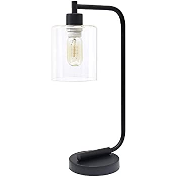 Simple Designs Home Ld1036 Blk Industrial Iron Desk Lantern Lamp 3 5