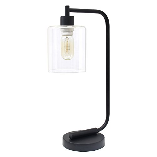 simple designs home ld1036-blk bronson antique style industrial iron lantern desk lamp with glass shade, black