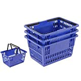 Blue Plastic Shopping Basket with Plastic Handle, Large, 19-3/8''L X 13-1/4''W X 10''H - Lot of 12