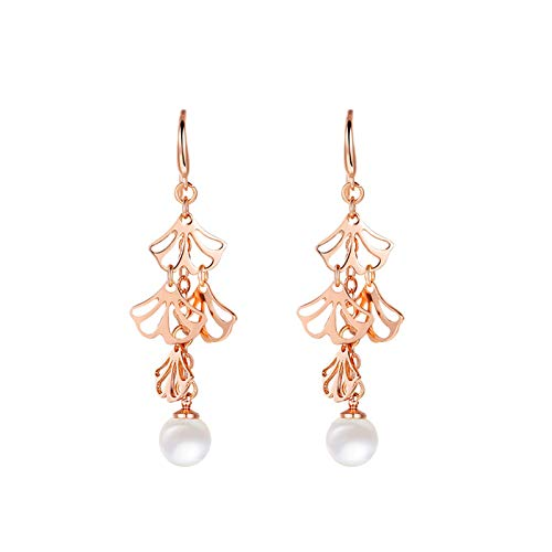 Adisaer Sterling Silver Plated Earrings for Women Native Leaves with Pearl Stud Earrings Gold ()