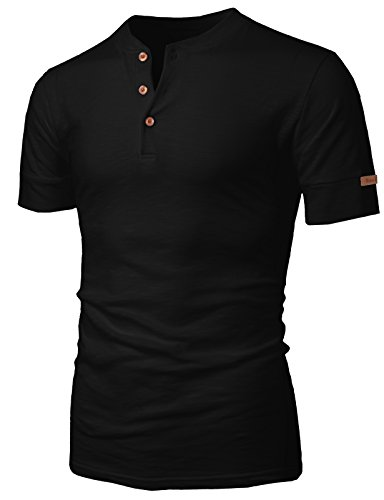H2H Mens Casual Basic Henley Leather Label Short Sleeve T-Shirt Black US M/Asia XL (KMTTS0470)