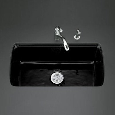 KOHLER Cape Dory Undermount Cast-Iron 33 in. 5-Hole Single Bowl Kitchen Sink in Black Black
