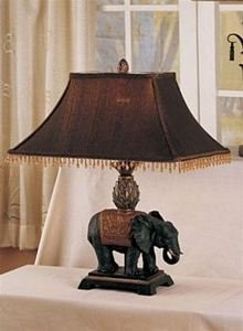 Table Lamp With Elephant Design Meatl in Dark Chocolate Finish by Poundex by Poundex
