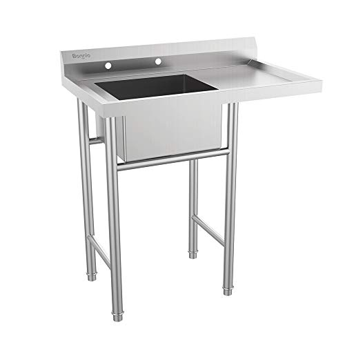 Bonnlo 304 Stainless Steel Utility Sink with Drainboard Commercial Grade Laundry Sink for Outdoor, Backyard, Garages - Inner Tub Size 18