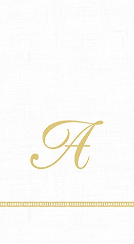 Stitch Monogram - Caspari 3-Ply Paper Hemstitch Script White Monogram, 15 Count Guest Towel Napkins Letter A, Set of 2