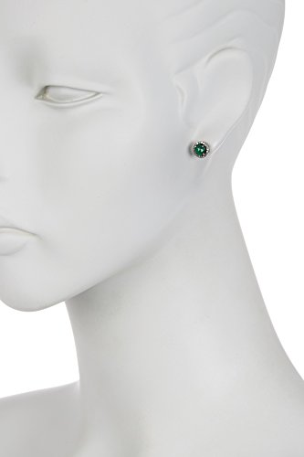 Emerald Halo Stud Earrings for Women| Sterling Silver 5mm Echo Stud Earrings With Champagne Diamond by ADORNIA (Image #2)