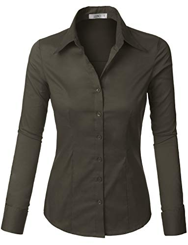 LE3NO Womens Lightweight Button Down Shirt with Stretch Darkgray ()