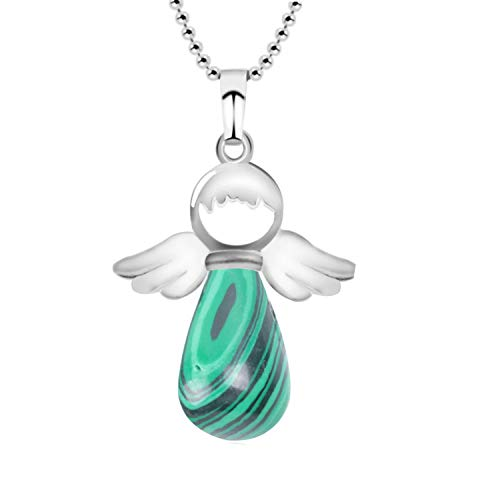 (Wings Natural Stone Necklaces Pink Quartz Lapis Angles Pendants for Women Girl Purple Female Jewelry Gift,Malachite)