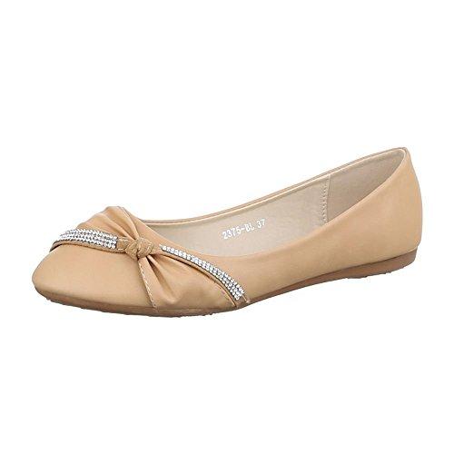 Ital-Design Damen Schuhe, 2375-BL, Ballerinas mit Strasssteinen Beige