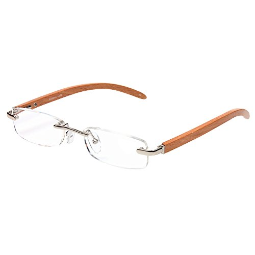 AENMIL Creative Anti-Fatigue Reading Glasses, Unique Wooden Arms Metal Frame Eye Protection Prism Spectacles(+3.00, - Spectacles Wooden