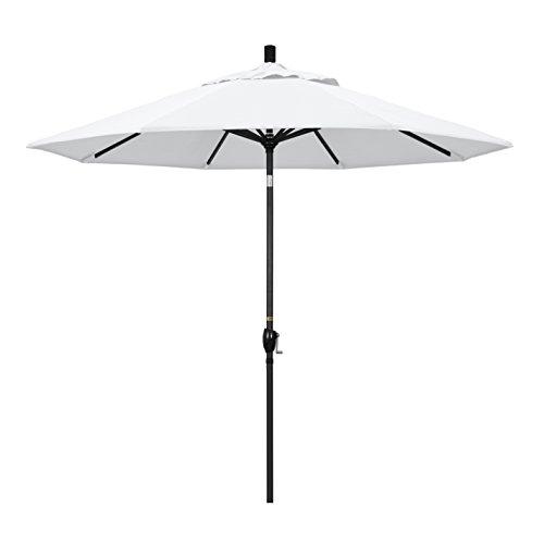 California Umbrella 9' Round Aluminum Market Umbrella, Crank Lift, Push Button Tilt, Black Pole, White Olefin by California Umbrella