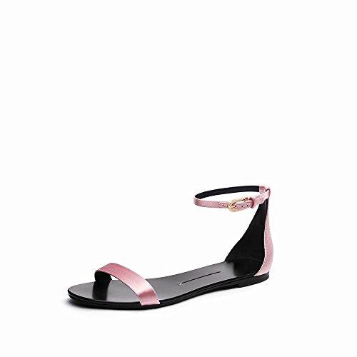 Simples Plat D'Été Chaussures Chaussures UNE Rond Talon Mot Sandales Mot NSX Bouton qXZwgzR