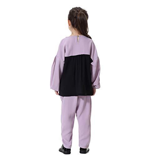 Sportivi Sportivi Sportivi T Lunga con Due a Pezzi Lunghi Color Manica Shirt Purple Scollo Ragazza Block Palloncino per Pantaloni Gadfjuotg d7wIqtx7