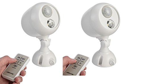 2 Pack Mr. Beams MB370 Wireless LED Remote Control Spotlight with Motion Sensor and Photocell 140 Lumens, White by Mr. Beams