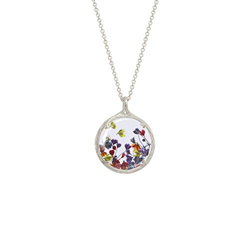 Botanical Pendant Necklace with Delicate Dried Flowers in Glass Charm (Rainbow Baby's Breath Flowers, silver-plated-base) by Catherine Weitzman