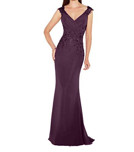 Promkleider Charmant Brautmutterkleider Damen Festlichkleider Abendkleider Traube Ausschnitt Lang Etuikleider V qAqw64Y