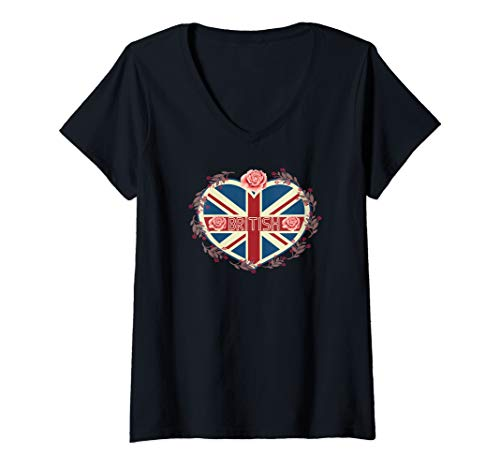(Womens British Flag Shirt Vintage Colored Union Jack Heart UK V-Neck T-Shirt)