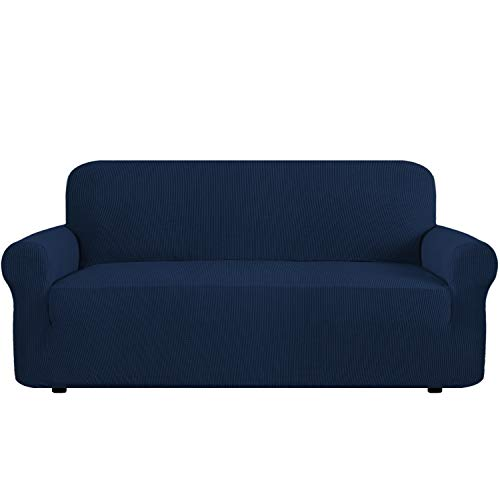 Modern Spandex One Piece Sofa Cover Lycra Jacquard High Stretch Sofa Slipcover Stylish Furniture Cover/Protector Machine Washable- XL Sofa- Navy - 4 Seater ()