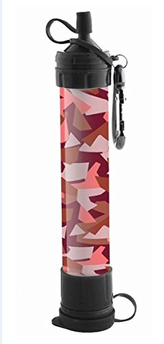 J.B.W Emergency Camping Water Filter Straw Portable Purifier - Chemical Free, BPA Free & Lightweight. Filtration System removes 99.9% bacteria & filter to 0.01 Micron - Pink Camouflage Color