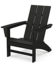 POLYWOOD AD420BL Modern Adirondack Chair Outdoor Furniture, Black