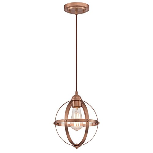 Copper Light Pendant (Westinghouse Lighting 6362100 Stella Mira One-Light Mini, Washed Copper Finish Indoor Pendant)