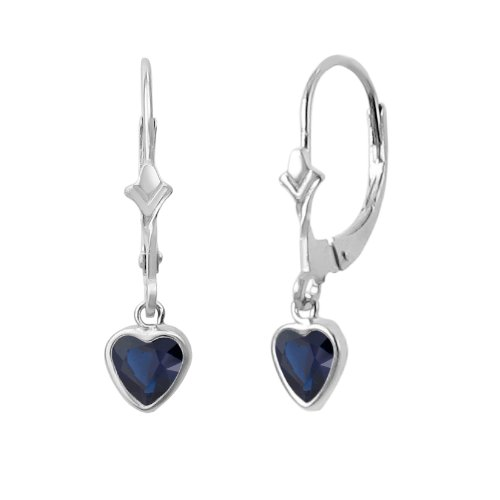 14K White Gold Fleur De-Lis Lever Back Earrings with Dangling 5x5mm Heart Shaped Simulated Birthstone - Created Sapphire