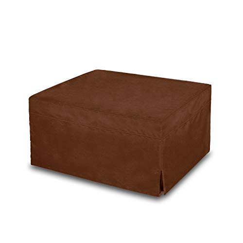 (NOVA_FURNITURE Ottoman Sleeper Bed, Foam Mattress, Folding Convertible Bed with Guest Hideaway Bed, No Assembly Required,Microfiber Slip Cover, Brown)