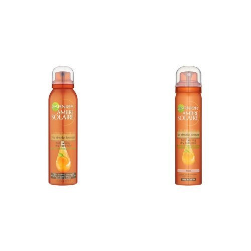 Garnier Ambre Solaire No Streaks Bronzer Original Intense Self-Tanning Body Mist, 150ml and Garnier Ambre Solaire No Streaks Bronzer Original Intense Self-Tanning Face Mist, 75 ml Duo Set Tanning spray natural tan