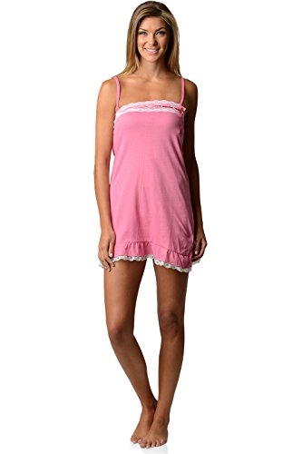 Lace Trim Chemise Rose (Casual Nights Women's Jersey Lace Trim Chemise Nightie - Rose - Medium)