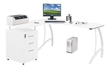 Computer Eck Schreibtisch Castor Hochglanz Weiss Mit Standcontainer