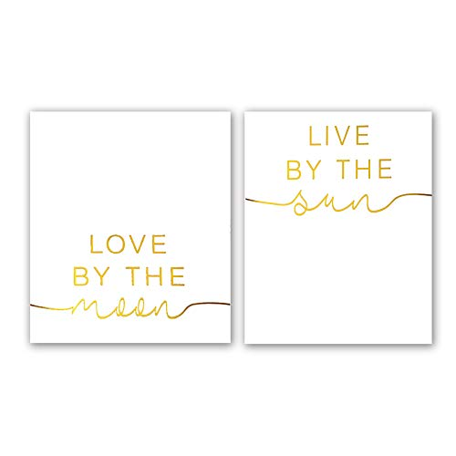 Live by The Sun—Love by The Moon Gold Foil Print, Yoga Room Office Inspirational Quote Cardstock Art Print Poster Motivational Home Minimalist Wall Art ,Gifts (8 X 10 inch, Set ()