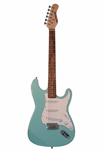 "Full Size 6 String Ocean Green Electric Guitar S-Style with Amplifier and ""Learn to Play Guitar DVD"", Free Carrying Bag and Strap, Cable, Whammy Bar, Strings & Directly Cheap(TM) Pick"